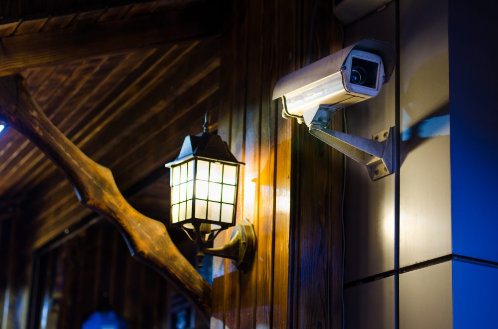 CCTV Camera Next To Front Porch Light